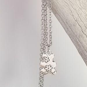 Teddy bear flowers pattern Necklace